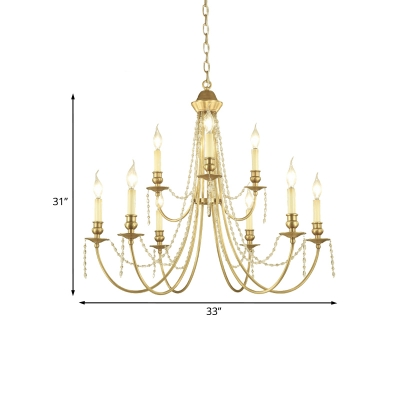 9-Light Candle Style Swoop Arm Chandelier Countryside Gold Crystal Strand Pendant Ceiling Light