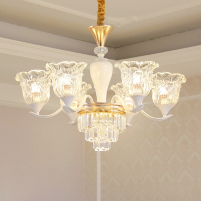Flower Clear Glass Hanging Chandelier 3/6 Lights Hotel Ceiling Suspension Lamp in Gold with Crystal Accent