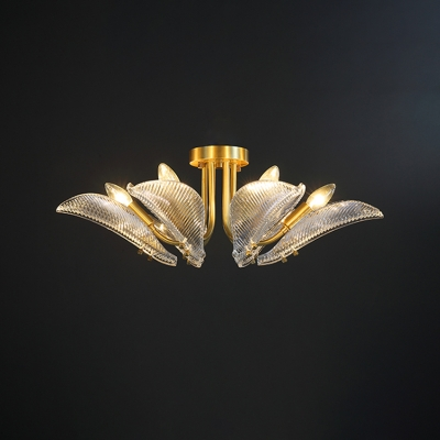 Luxury Leaf Semi Mount Lighting 6 Heads Prismatic Crystal Ceiling Light Fixture in Brass