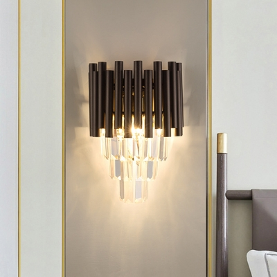 Tube Tiered Bedside Flush Wall Sconce Modern Crystal 2-Light Coffee Wall Mount Light Fixture