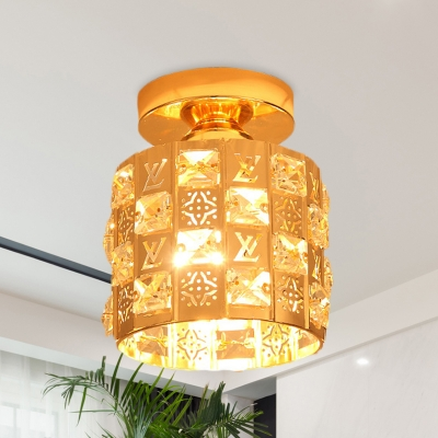 Beautifulhalo coupon: 1 Bulb Cylinder Cutouts Mini Flush Light Modern Gold Crystal Encrusted Ceiling Mounted Lamp