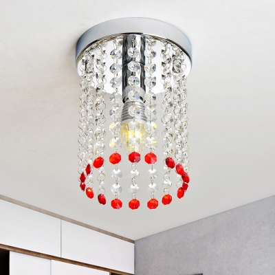 Beautifulhalo coupon: 1 Bulb Cylinder Flush Mount Lamp Modern Chrome-Red Crystal Tassel Ceiling Light Fixture