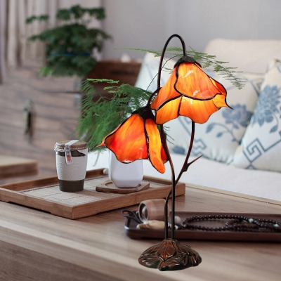2-Head Lotus Night Lamp Tiffany Beige/Red/Pink Glass Table Lighting with Drooping Arm for Bedroom