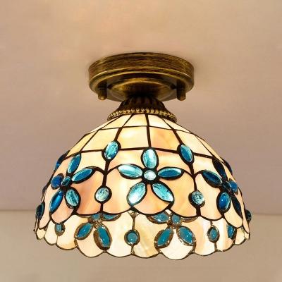 Beige/Blue/Light Blue Single Flushmount Tiffany Style Handmade Shell Beaded/Peacock Feather/Flower Flush Mount Ceiling Light