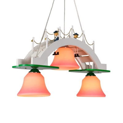 Bridge Chandelier Lighting Cartoon Wood 3-Light White Pendulum Lamp with Bell Pink Glass Shade