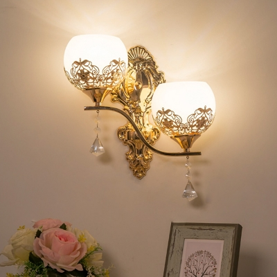 Cream Glass Gold Sconce Lighting Half-Sphere 2 Bulbs Retro Wall Mounted Light Fixture with Flower Pattern