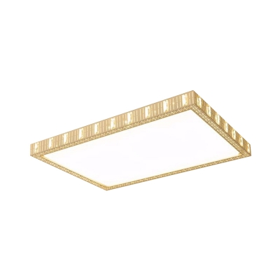 Crystal Embellished Rectangle Flushmount Minimalistic Living Room LED Ceiling Lamp with Hollowed Out Side