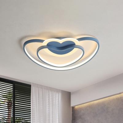 Dual Loving Heart Frame Flushmount Nordic Acrylic LED Bedroom Flush Mount Ceiling Light in White/Pink/Blue