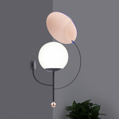 Globe Corner Wall Mount Lamp White Frosted Glass 1-Head Modernist Wall Light in Black with Mirror Deco
