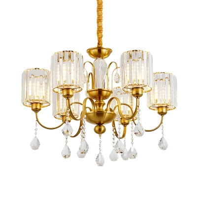 Postmodern Cylinder Chandelier Lamp 6-Head Prismatic Crystal Pendant Light Fixture in Gold