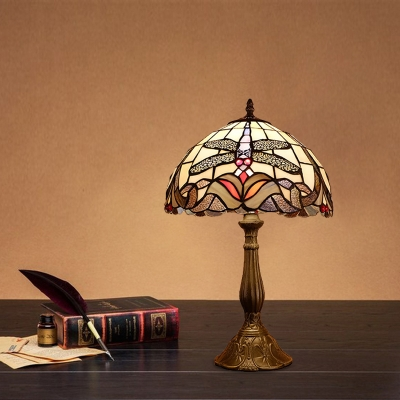 Stained Glass Bronze Night Table Lighting Dome 1-Head Mediterranean Dragonfly Patterned Nightstand Lamp