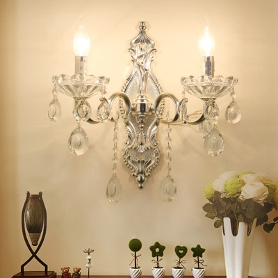 Vintage Candle Wall Lamp 2 Lights Crystal Wall Lighting in Silver with Metal Scrolled Arm