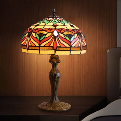 Beautifulhalo coupon: 1 Bulb Fish Patterned Nightstand Lamp Baroque Bronze Cut Glass Table Lighting for Bedroom