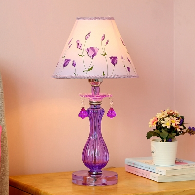 1 Light Table Lighting Pastoral Cone/Flare Fabric Girl/Flower Pattern Night Stand Lamp with Vase Glass Base in Purple