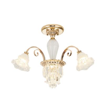 3 Heads Crystal Flush Mount Chandelier Modern Gold Flounce-Trim Dining Room Semi Flush Light