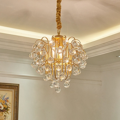 3-Light Crystal Orbs Chandelier Traditional Gold Tapered Dining Table Down Lighting Pendant