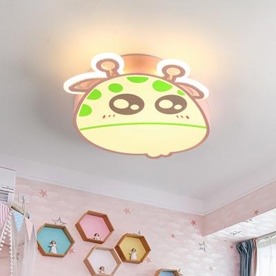 Acrylic Giraffe Head Shape Flush Light Cartoon LED Flush Mount Lamp Fixture in Pink/Blue