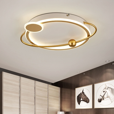 Acrylic Round Ceiling Mounted Fixture Nordic LED Flush Lighting in Gold, White/Warm Light