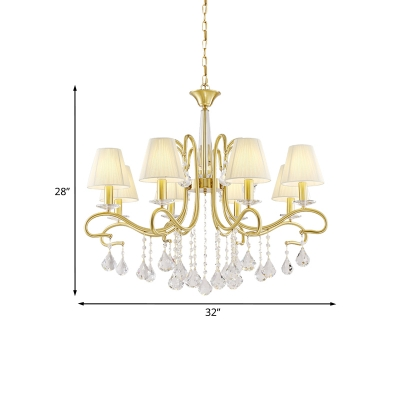 Brass 8 Heads Ceiling Chandelier Country Fabric Cone Shade Suspension Lamp with Crystal Drapes