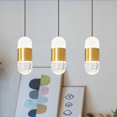 Brass Capsule LED Cluster Pendant Light Postmodern Crystal 3-Head Dining Table Hanging Lamp Kit