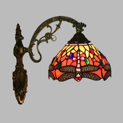 Bronze Dragonfly Conical Wall Lamp Kit Tiffany 1 Head Handcrafted Glass Sconce Light