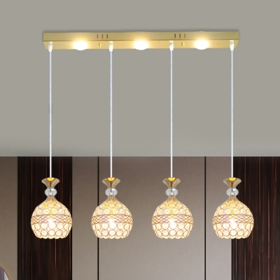 3 Lights Clear Crystal Cluster Pendant Lighting With Linear Round Canopy Modern Suspension Light In Black Hl565201 Buy At The Price Of 154 77 In Beautifulhalo Com Imall Com