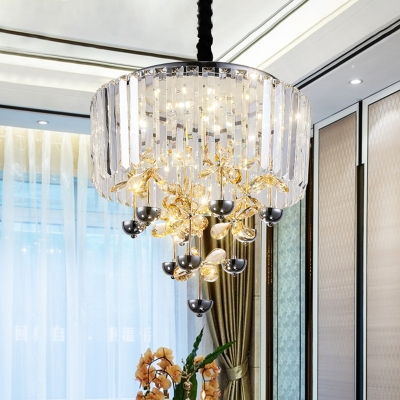 Flower Clear Crystal Chandelier Lighting Modernism LED Chrome Ceiling Hang Fixture with Drum Shade