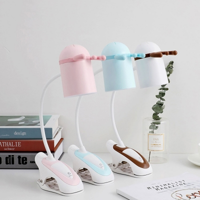 Kids Dome Table Light Plastic LED Bedroom Study Lamp with Antler Decoration in Pink/Blue/Coffee