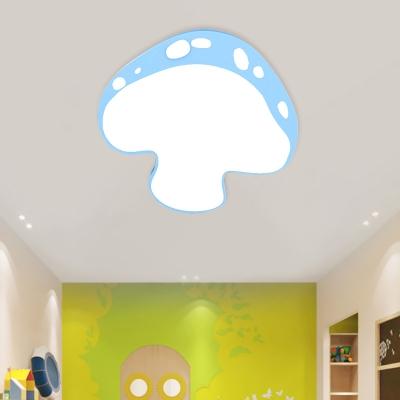 Kids LED Flushmount Lighting Pink/Yellow/Blue Mushroom Ceiling Light with Acrylic Shade for Kindergarten