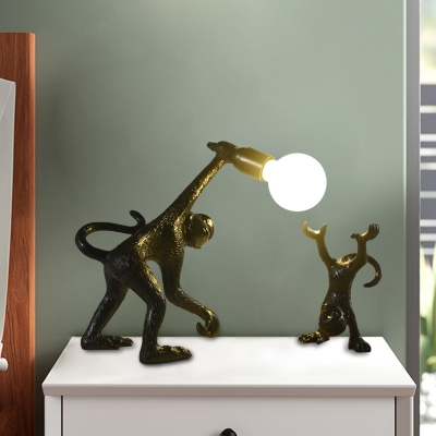 Monkey Night Stand Light Creative Resin Single-Bulb Black/White/Gold Finish Table Lamp for Bedside