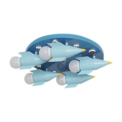 Rocket Boy Bedroom Ceiling Lighting Iron 5 Lights Kids Semi Flush Mounted Lamp in Blue