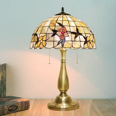 Shell Gold Night Light Dome Shape 2-Light Tiffany Pull Chain Desk Lighting with Flower Pattern