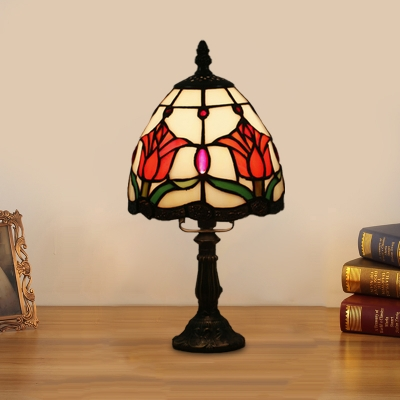 Stained Glass Tapered Night Lighting Victorian 1-Head Red/Pink/Orange Table Light with Flower Pattern