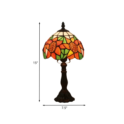 Sunflower Patterned Night Light Victorian Stained Art Glass 1 Bulb Bronze Finish Table Lamp with Bowl Shade