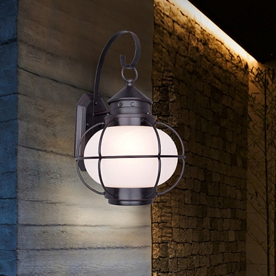 White Clear Glass Lantern Wall Mount Light Fixture Lodge 1 Head Outdoor Wall Lighting Ideas With Coffee Bronze Iron Cage Beautifulhalo Com