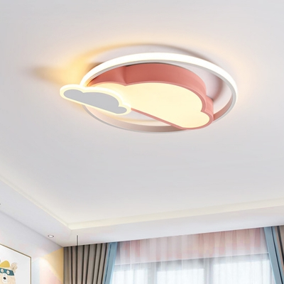 White/Pink Cloud-Shape Ceiling Flush Nordic Style LED Acrylic Flush Mounted Lighting for Bedroom