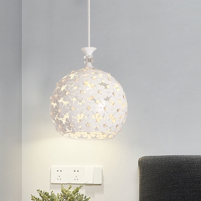 Beautifulhalo coupon: 1 Bulb Dining Room Hanging Light Fixture Minimal White Crystal Ball Pendant Lamp with Globe Metal Shade