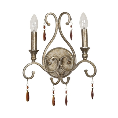 2 Heads Swirl-Arm Candle Sconce Light French Country Aged Silver Iron Wall Mounted Lamp