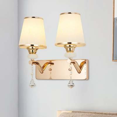 2-Light Opal Frosted Glass Sconce Postmodern Gold Cone Bedside Wall Mount Light Fixture