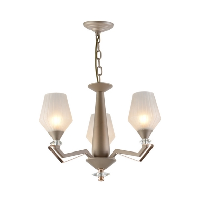 3/6-Bulb Chandelier Country Tapered White Ribbed Glass Hanging Light Fixture for Bedroom