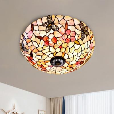 3/4 Bulbs Butterfly-Flower Flush Light Mediterranean Beige Shell Ceiling Flush Mount, 16