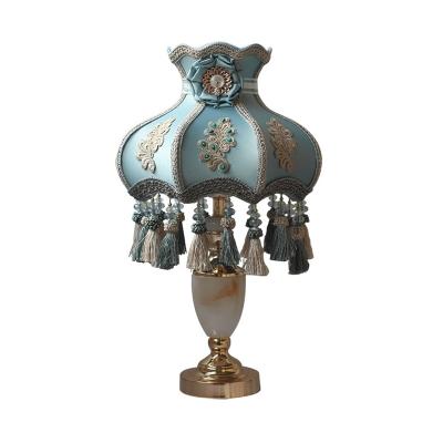 Aqua Ridged Table Lighting Pastoral Fabric 1-Light Nightstand Lamp with Tassel Knot Drop