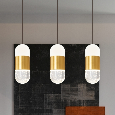 Baycheer / Brass Capsule LED Cluster Pendant Light Postmodern Crystal 3-Head Dining Table Hanging Lamp Kit