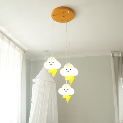 Cloud Shape Cluster Light Pendant Nordic Acrylic 3 Heads White and Yellow LED Hanging Lamp Kit