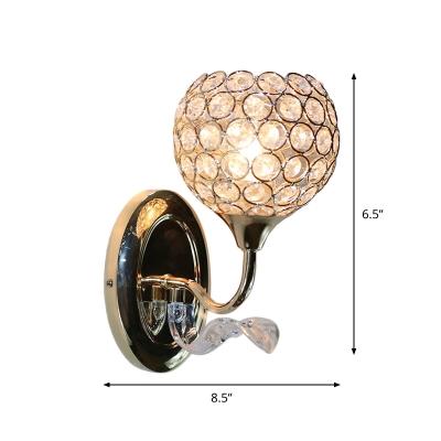 Crystal Globe/Half-Globe Sconce Light Minimalism 1 Bulb Hotel Wall Lighting Fixture in Gold