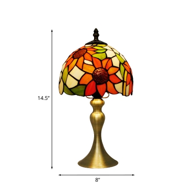 Dome Shaped Table Light Mediterranean Stained Glass 1 Head Gold Nightstand Lamp with Sunflower Pattern