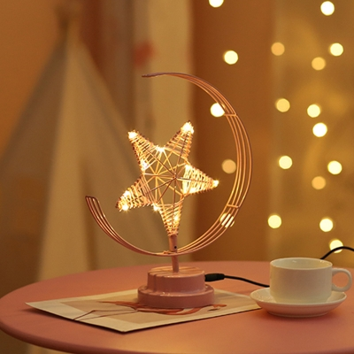 Iron Crescent and Star USB Night Light Macaron Pink/Black LED Table Lamp in Warm Light for Bedroom