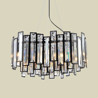 Layered Crystal Rectangle Chandelier Modern 6 Heads Dining Table Suspension Pendant Light in Black
