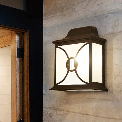 Square Clear Water Glass Flush Wall Sconce Cottage 1 Light Outdoor Wall Mount Light Fixture In Black Coffee Beautifulhalo Com