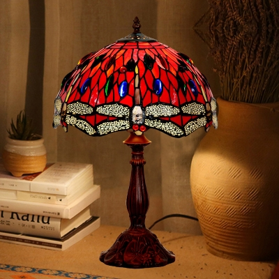 Beautifulhalo coupon: 1 Bulb Bedroom Table Lighting Tiffany Bronze Dragonfly Patterned Night Lamp with Dome Cut Glass Shade